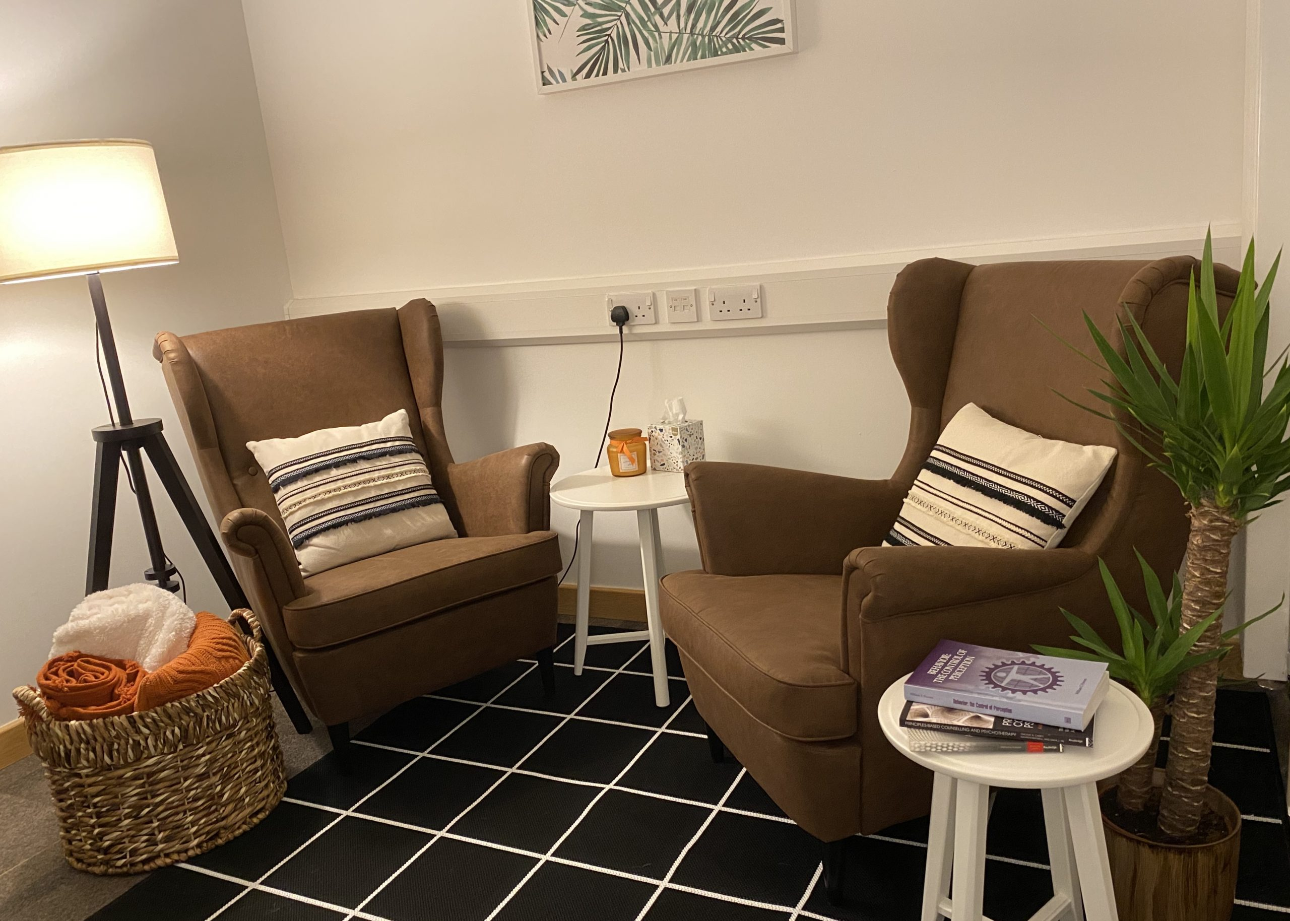 The therapy room with leather armchairs and soft cushions