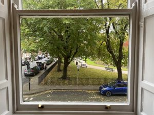 The view of the park seen through the window